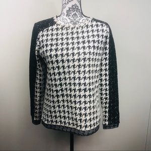 Houndstooth and lace sweater
